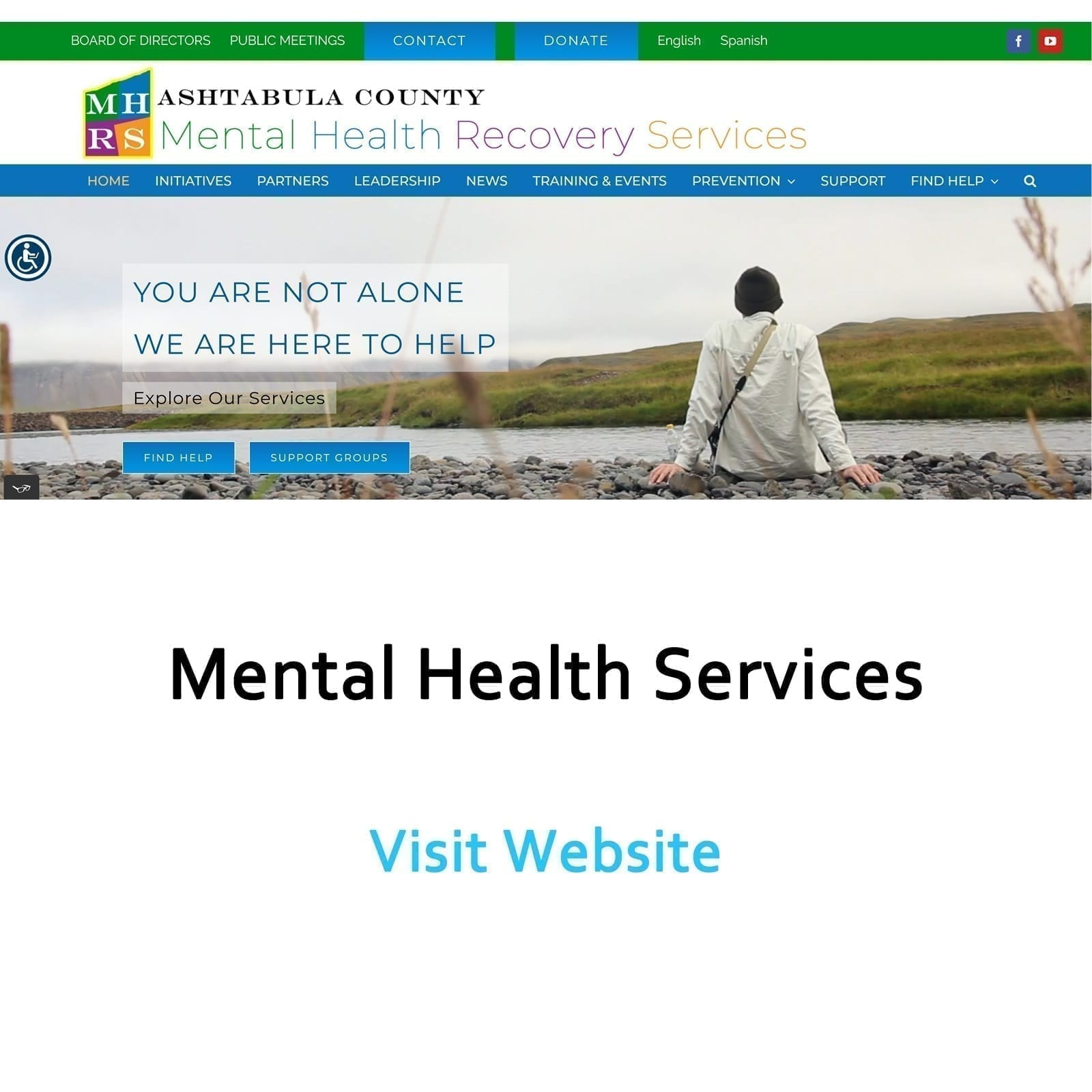 Image of Mental Health Recovery Services website